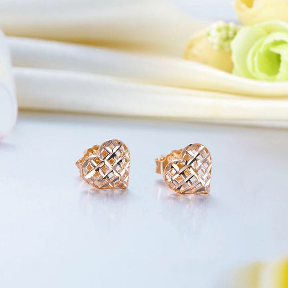 SS-Solid 18K/750 Rose Gold Heart Stud Earrings