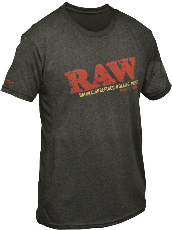 RAW UNISEX BLACK TRI-BLEND DISTRESSED LOGO SHIRT
