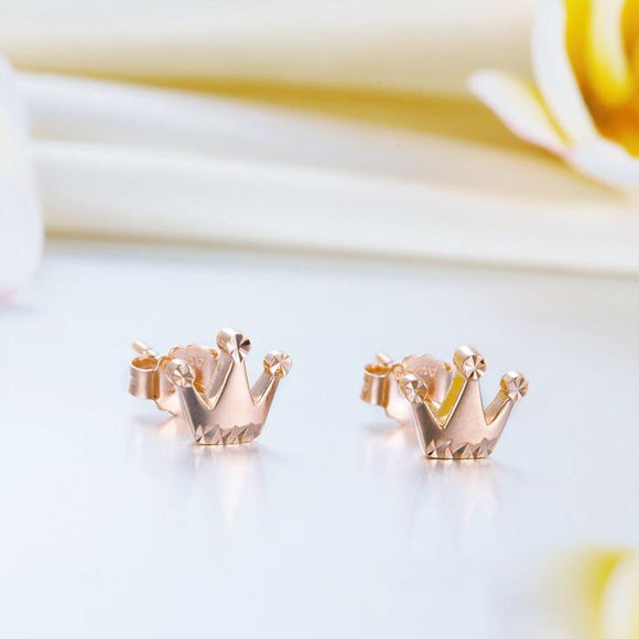SS-Solid 18K/750 Rose Gold Cutie Crown Stud Earrings