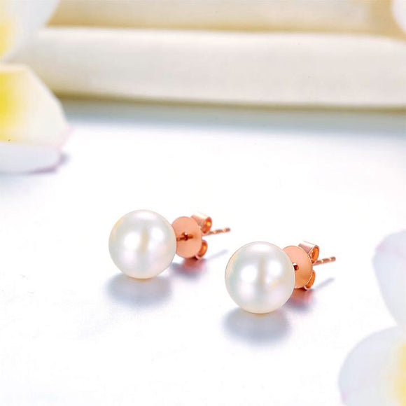 SS-18K/750 Rose Gold Stud Pearl Earrings 7mm