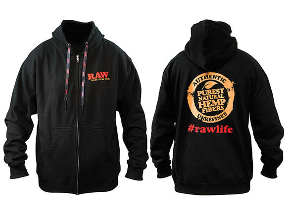 RAW Black Zipper Hoodie w/ Poker Strings