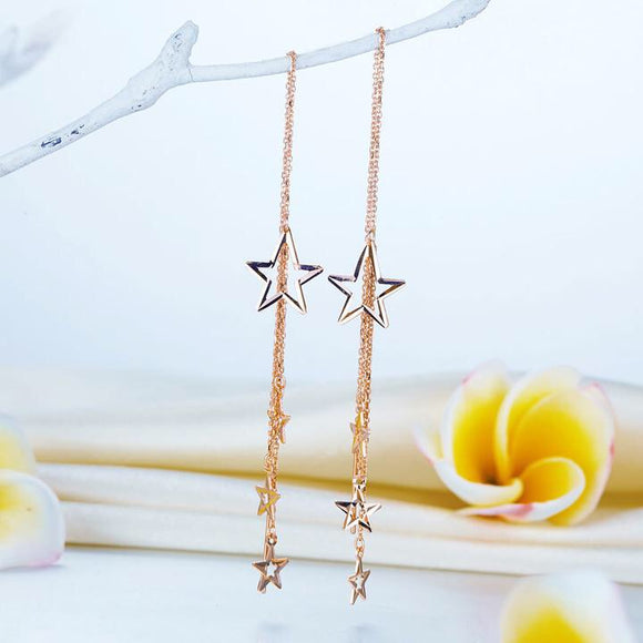 SS-Solid 18K/750 Rose Gold Dangle Stars Long Line Earrings
