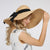 Summer Bow Lafite Straw Hat,Women's Big Brim Seaside Sun Hat