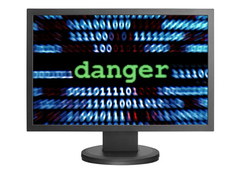 Computer screen showing danger from soho malware