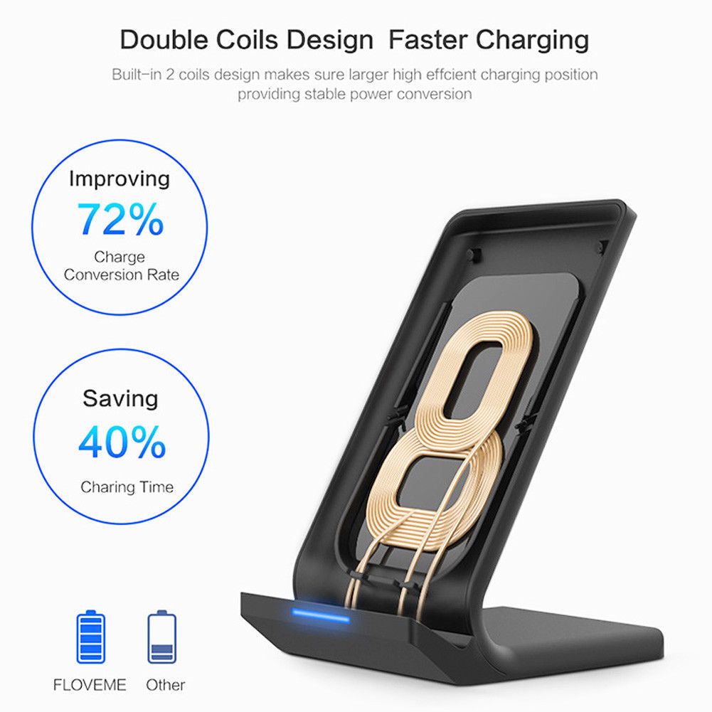 Wireless Qi Fast Charger Charging Stand Dock Pad