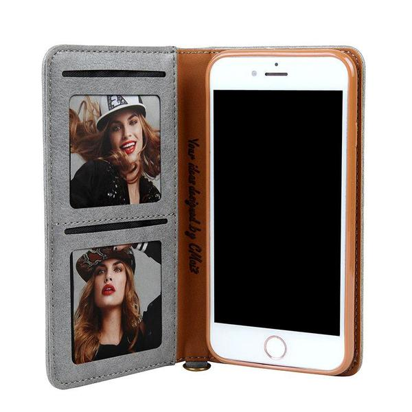 Luxury Leather Wallet Flip Case Stand for iPhone and Samsung