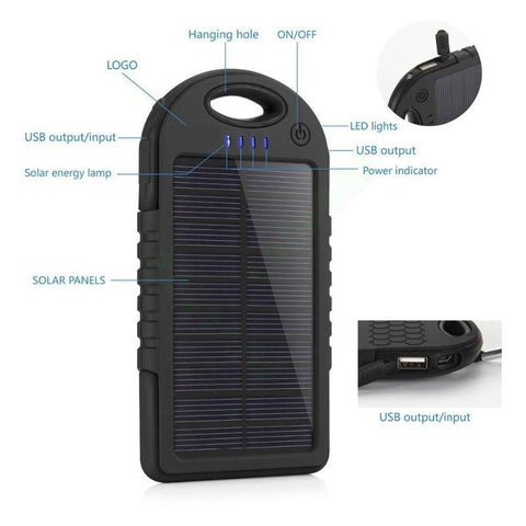 Image of WaterProof Portable Solar Power Bank Charger