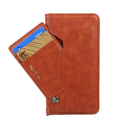 Image of Luxury Leather Wallet Flip Case Stand for iPhone and Samsung