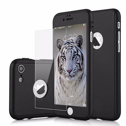 Image of Luxury Rugged Full Tempered Glass Hard Case For iPhone