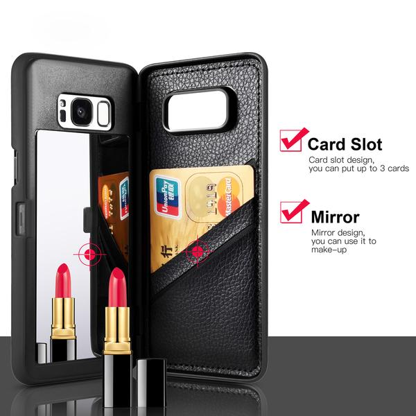 Luxury Leather Wallet Card Slot Flip Mirror Case for Samsung Galaxy