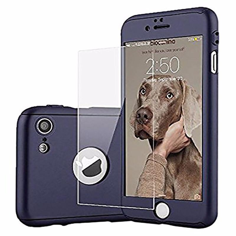 Luxury Rugged Full Tempered Glass Hard Case For iPhone