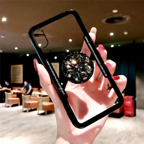 2018 new fashion mirror flash drill airbag bracket mobile phone case