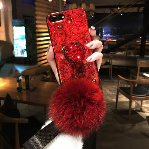 2019 [Samsung] New Fashion Fiber Soft Fur Ball Diamond Case