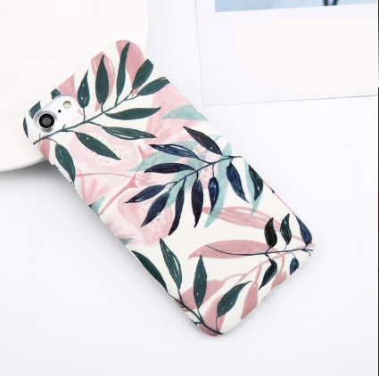 Image of Flower Leaf Print Hard Marble Case For iPhone & Samsung Galaxy