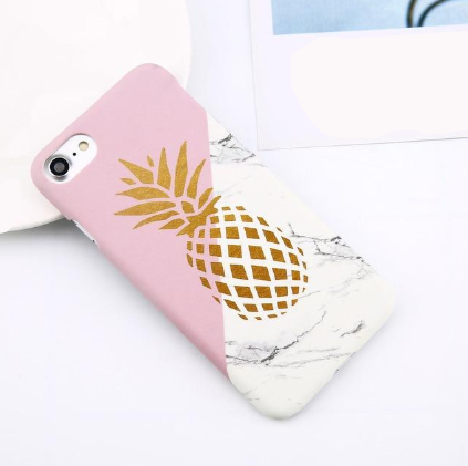 Flower Leaf Print Hard Marble Case For iPhone & Samsung Galaxy