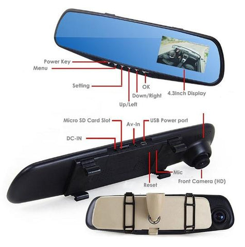Image of Dual Lens Dash Cam Vehicle Front Rear HD 1080 P Video Recorder