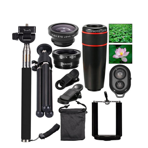 10 in 1 Phone Camera Lens Kit Accessories Travel Telescope Zoom Monopod