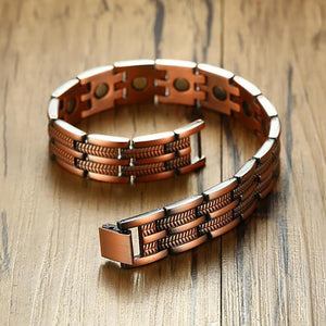 Men's Elegant Pure Copper Magnetic Therapy Link Bracelet Pain Relief For Arthritis And Carpal Tunnel Jewelry 8.46
