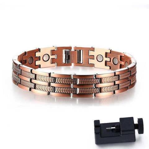 Image of Men's Elegant Pure Copper Magnetic Therapy Link Bracelet Pain Relief For Arthritis And Carpal Tunnel Jewelry 8.46""
