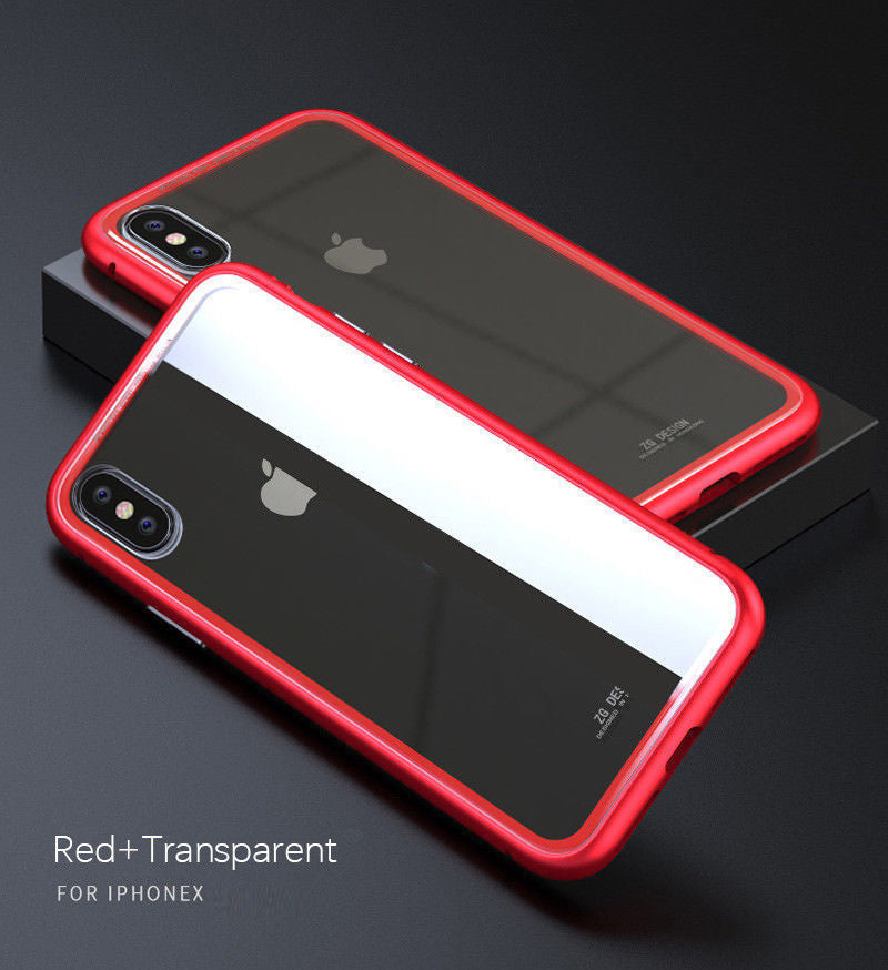 Magnetic Metal Frame Tempered Glass Back Cover Case For iPhone