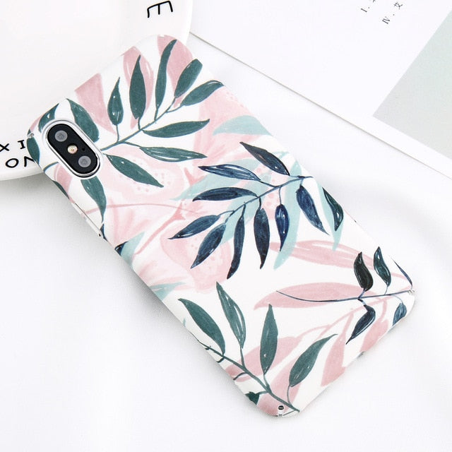 Flower Leaf Marble Case For iPhone & Samsung Galaxy