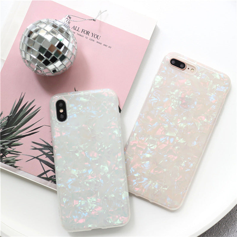Glitter Shell Pattern Soft TPU Silicone Case For iPhone & Samsung Galaxy