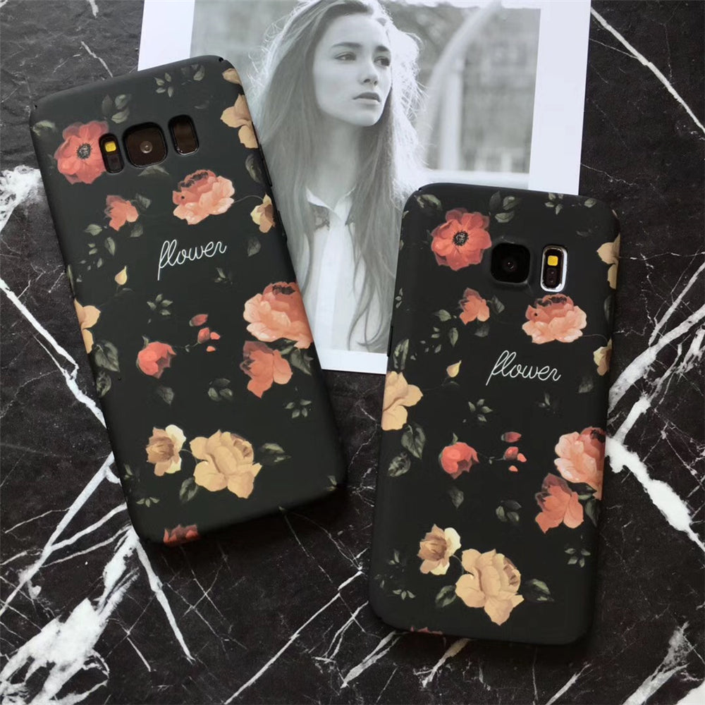 Retro Red Rose Flower Floral Cases For Samsung Galaxy & iPhone