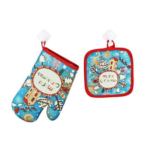 1 Set Christmas Baking Anti-Hot Gloves&Pad Oven&Microwave Insulation Mat