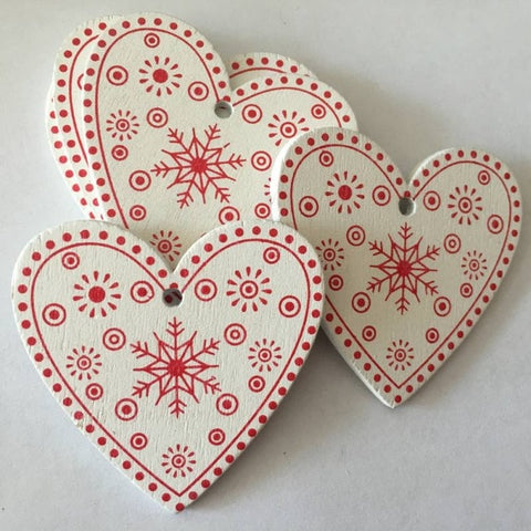 10pcs/set White Red Christmas Tree Ornament Wooden Hanging