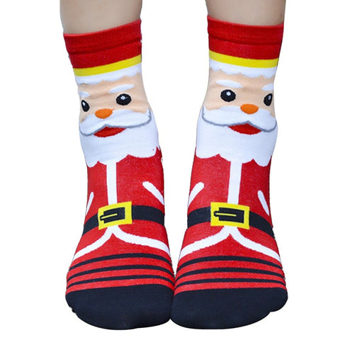 1 pair Women Girls Christmas 3D Santa Socks