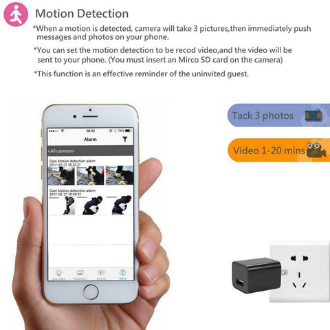 Image of WiFi Mobile Access Full 1080P HD USB Charger & Security Camera - Motion detected