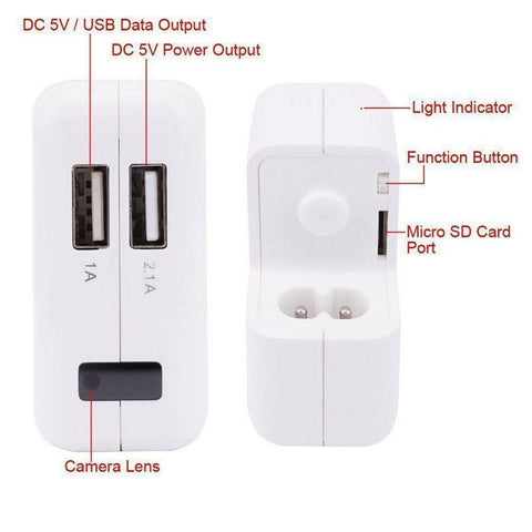 Image of 1080P HD Mini USB Wall Charger Hidden Spy Camera + USB Cable
