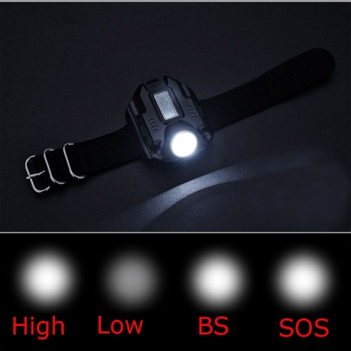 Waterproof Led Tactical Display Rechargeable Wrist Watch Flashlight Multi Tools