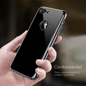 Luxury Mirror Ultra Thin Case + Tempered Glass Cover For iPhone
