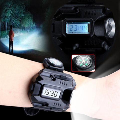 Image of Waterproof Led Tactical Display Rechargeable Wrist Watch Flashlight Multi Tools