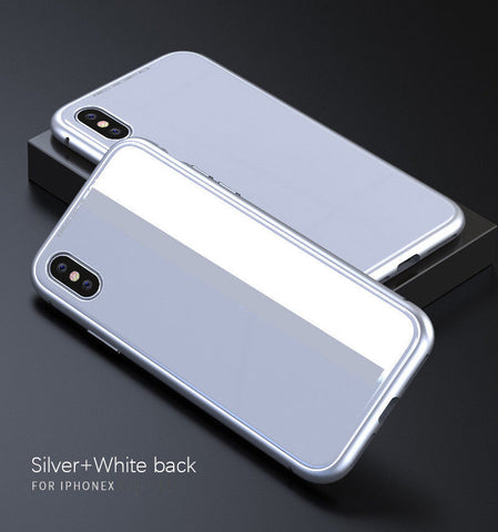 Image of Magnetic Metal Frame Tempered Glass Back Cover Case For iPhone