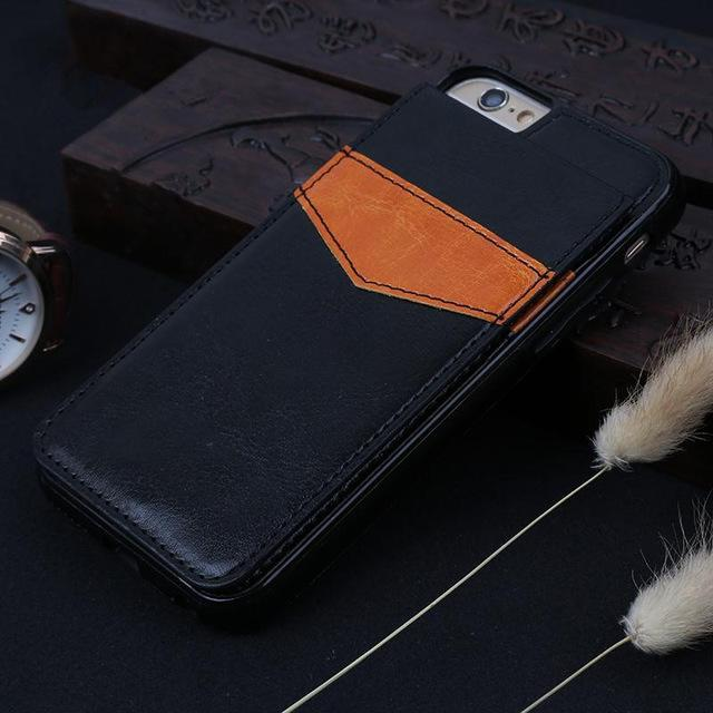 Vertical Fflip Card Holder Leather Case For iPhone