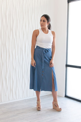 Chambray Slit Skirt - Coming March