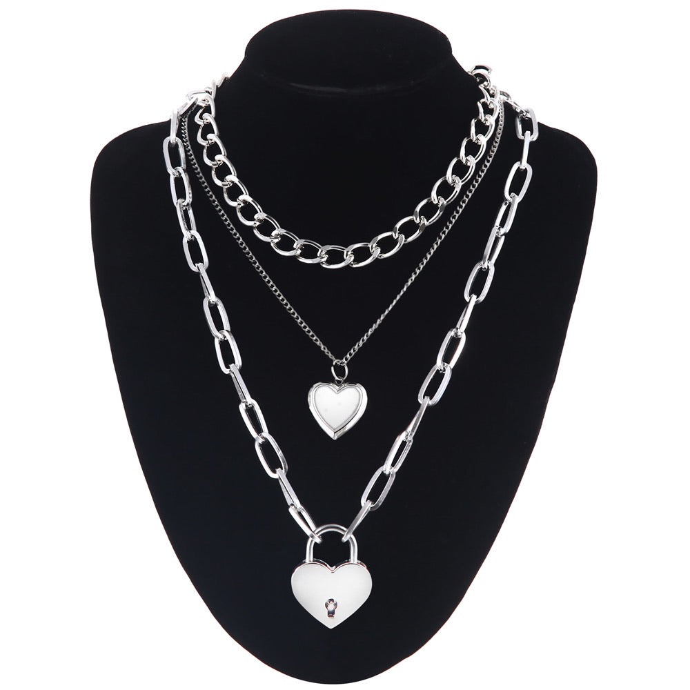 Chain + 2 hearts chunky necklace set