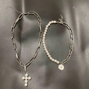 Coin & cross choker set - silver & gold