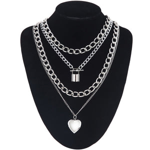 Padlock, hearts and chains chunky necklace set