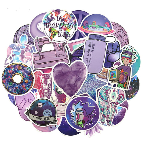 Purple theme stickers - 50 pieces