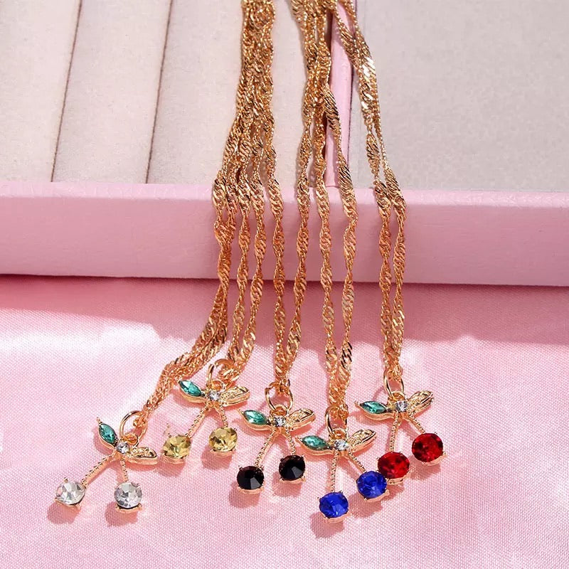 Rhinestone Cherry Chain Necklace - 12 Colours