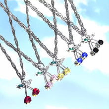 Load image into Gallery viewer, Rhinestone Cherry Chain Necklace - 12 Colours