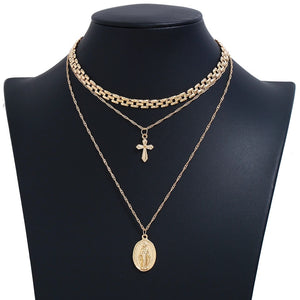 Cross 3 layer chain necklace