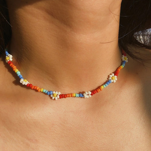 Handmade bead flower choker - 2 colours
