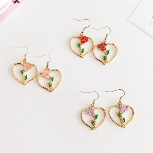 Simple rose heart earrings