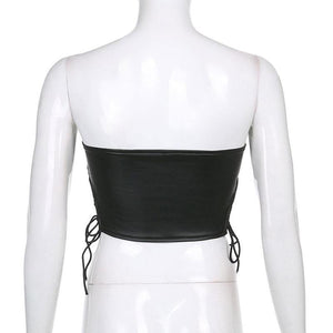 'Robyn' Faux Leather Crop Top