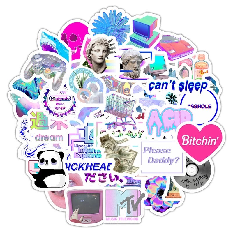 Vapourwave art style stickers - 50 pieces