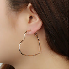 Load image into Gallery viewer, Heart hoop earrings - silver & gold